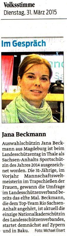 20150331 02 Presseartikel Volksstimme Jana Beckmann
